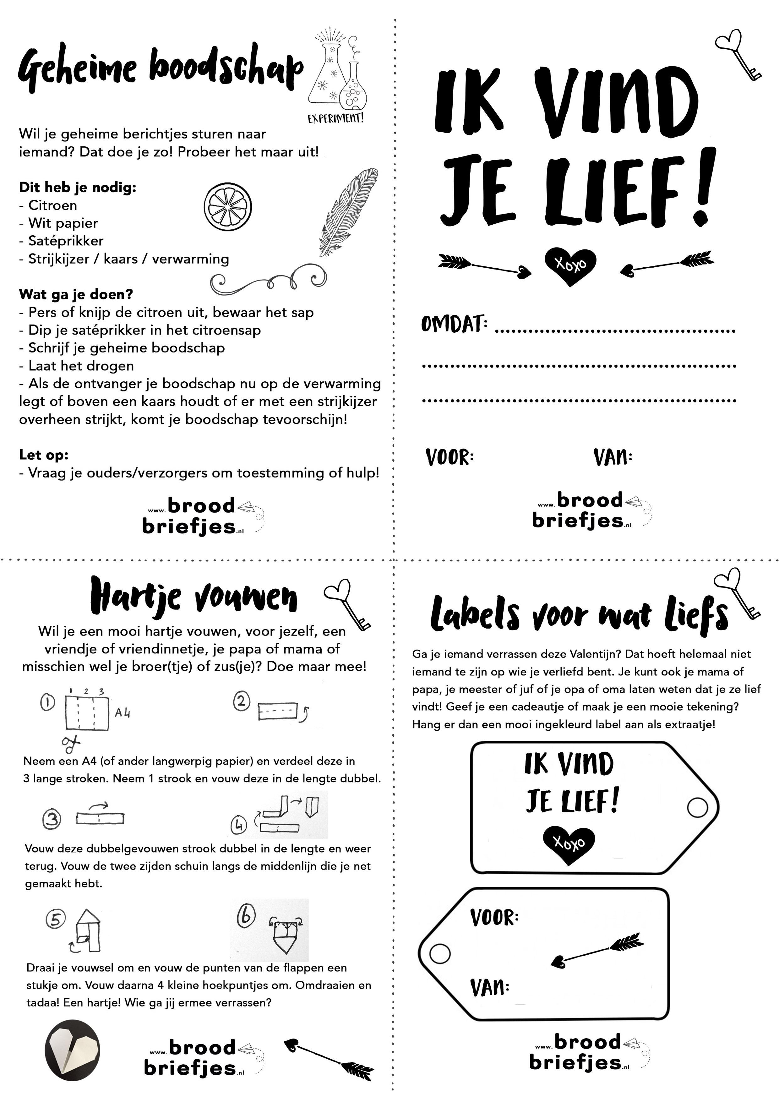 Verjaardag Juf Kleurplaat Broodbriefjes Valentijn Kinderen Broodbriefjes Nl